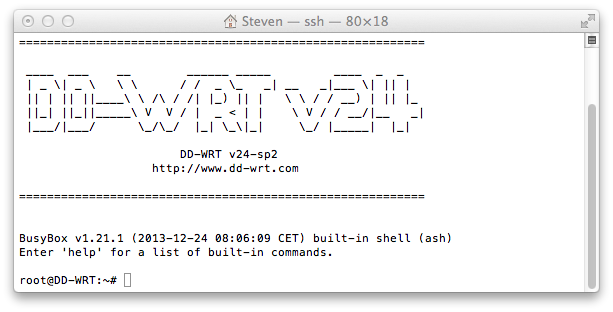 DDWRT ssh terminal console
