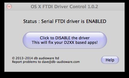 OS x FTDI Driver Control